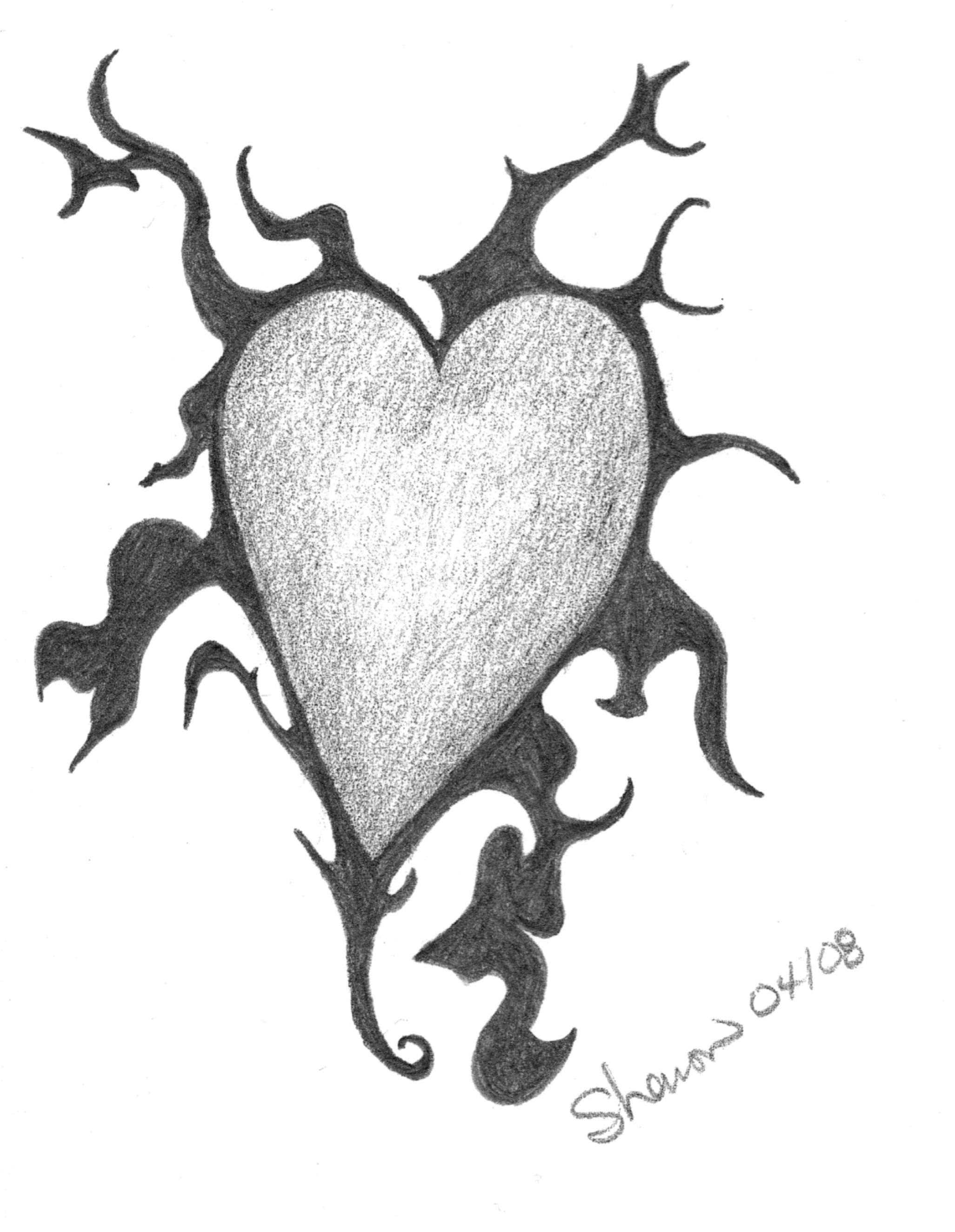 graphite drawing of heart with flame like flourishes my random Randoms Book graphite drawing of heart with flame like flourishes random drawings graphite drawings drawing