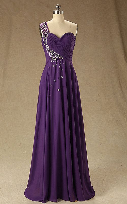 Sleeveless Pleated Beading A Line Purple One Shoulder Chiffon Floor Length  Long Prom Dress