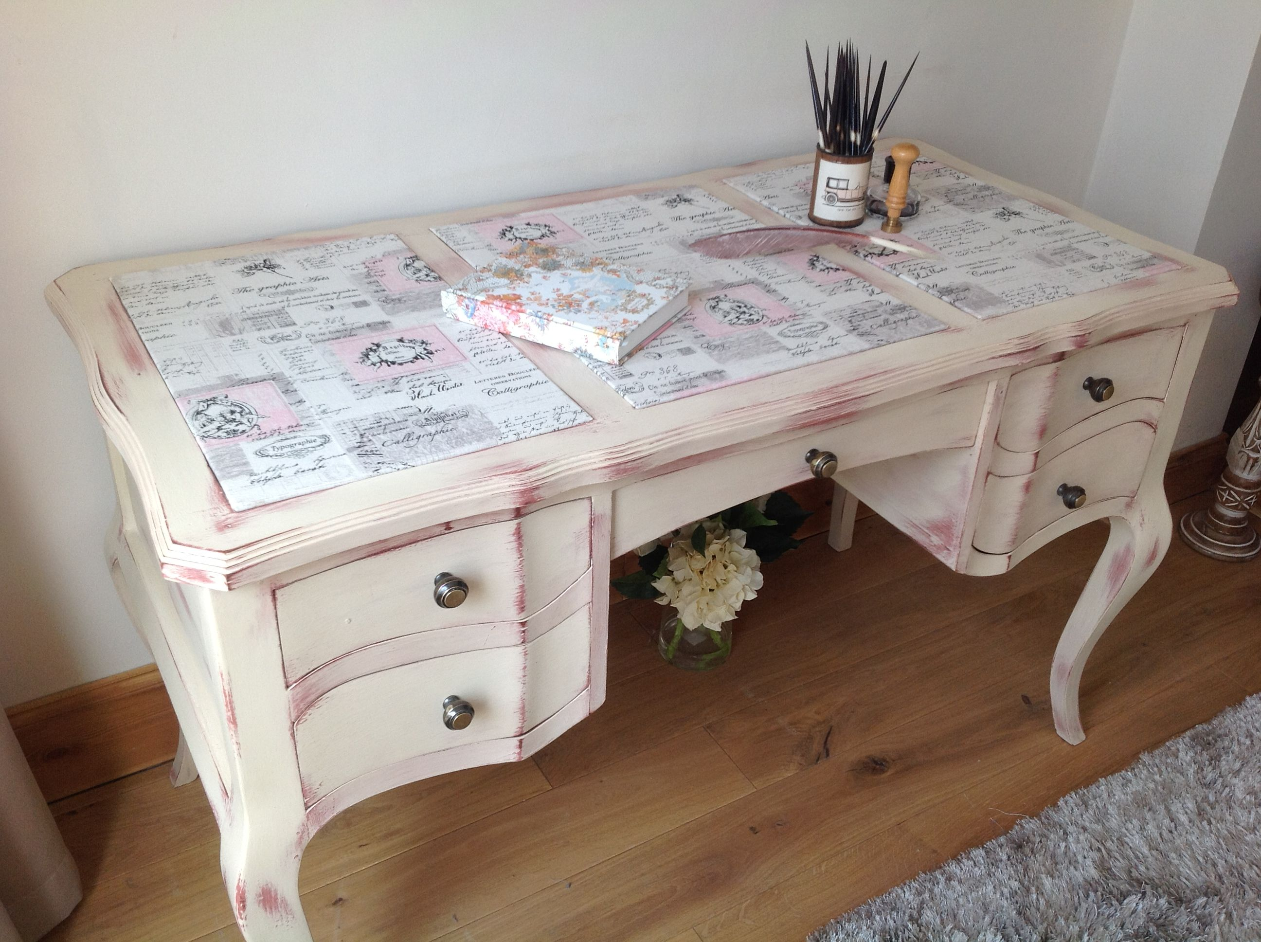 A stylish French style Shabby Chic Desk inlaid with fabric