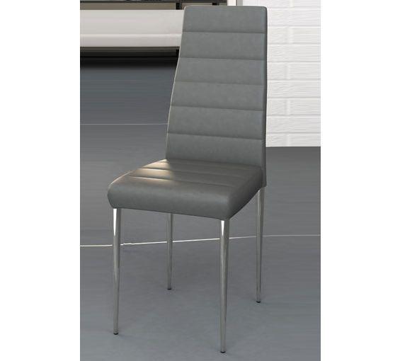 Silla para comedor tapizada en polipiel color gris for Sillas de comedor color gris