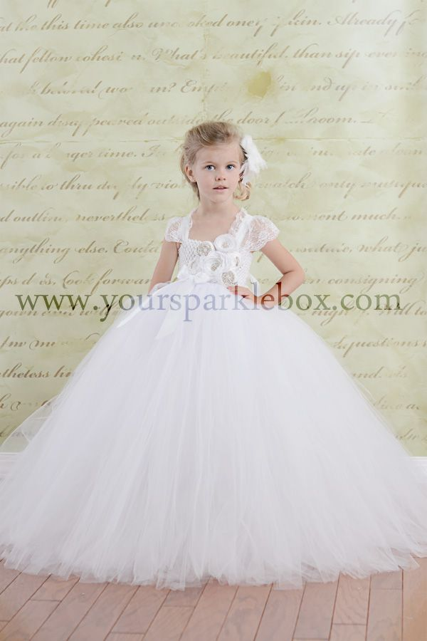1217cfd2e960 Purely Simple White Flower Girl Tutu Dress by YourSparkleBox custom made  gowns