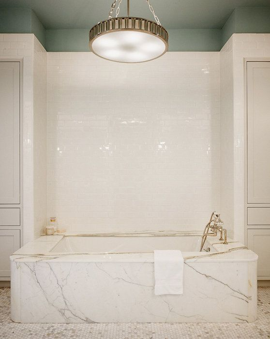 Beautiful Marble Surround Drop In Tub Ceiling Detail