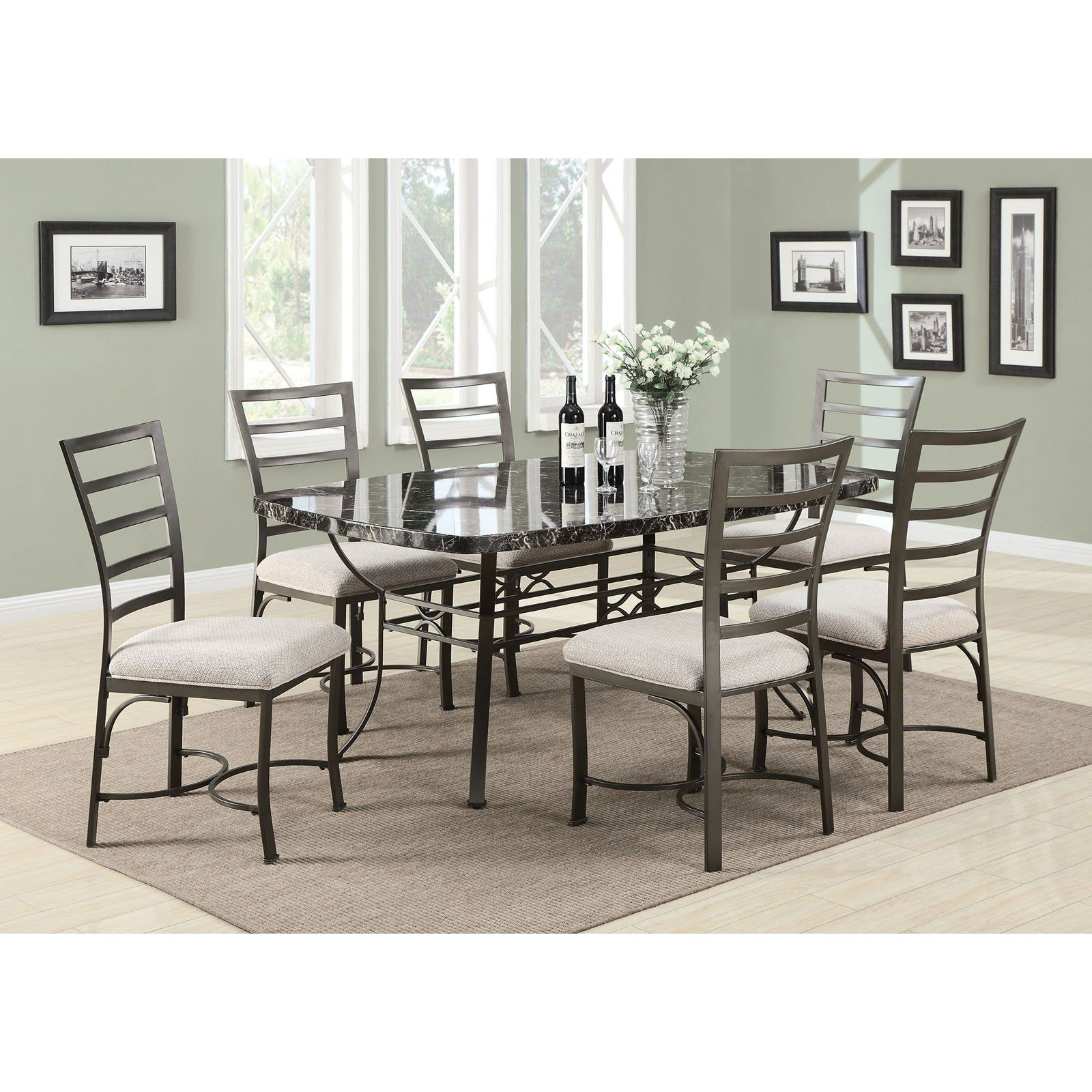 Acme Furniture Daisy 7 Piece Rectangular Faux Marble Dining Table Delectable Acme Dining Room Set Design Decoration