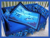 NEW baby crib bedding set ORCA WHALE OCEAN blue fabric