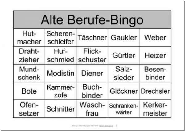 Bingo FГјr Senioren Zum Ausdrucken