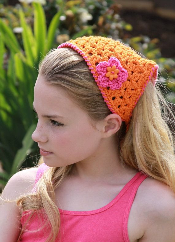 Kerchief Orange and Pink Summer Fashion Tween by foreverandrea   22 00 The  perfect summer hair accessory. Kerchief Orange and Pink Summer Fashion Tween by foreverandrea
