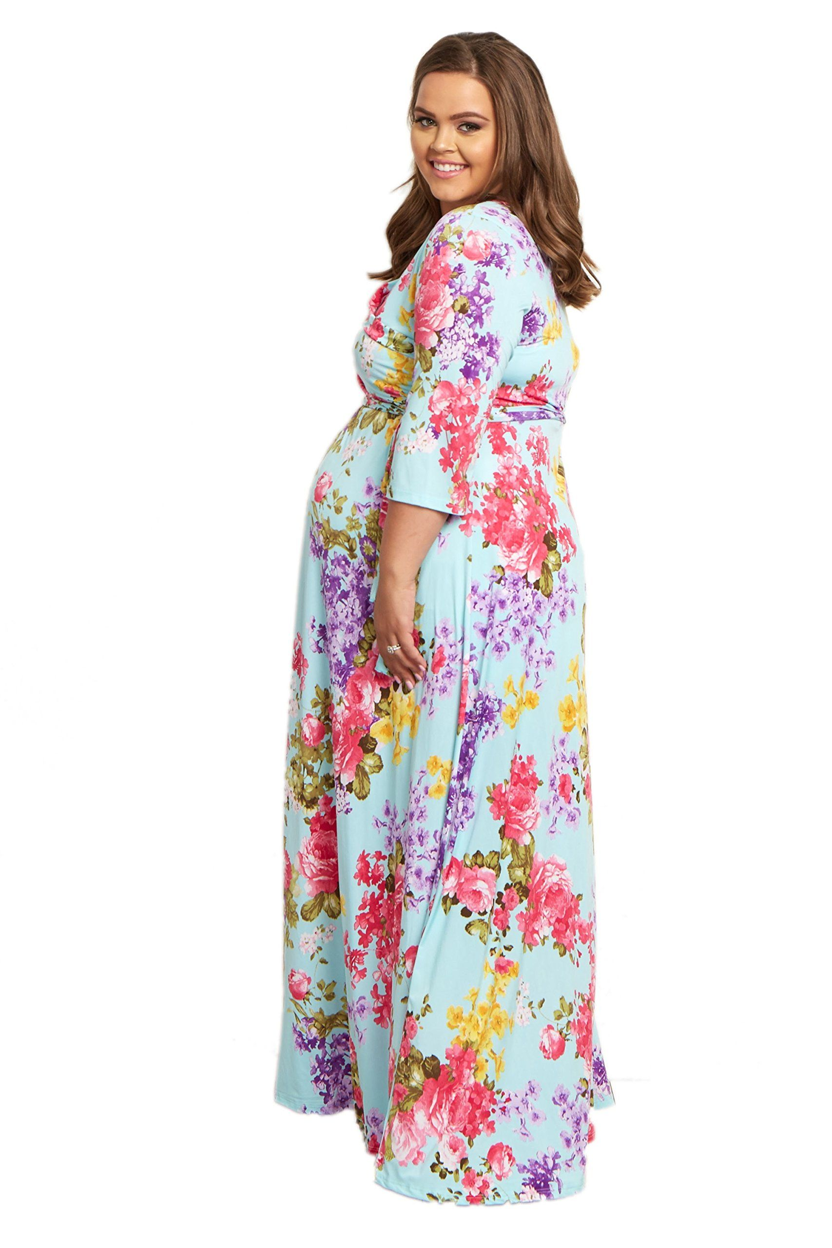 99f2fc374f35f Maternity Fashion - hard-wearing maternity maxi dress : PinkBlush Maternity  Light Blue Floral Sash Tie Plus Size Maxi Dress 1X ** Details could be ...