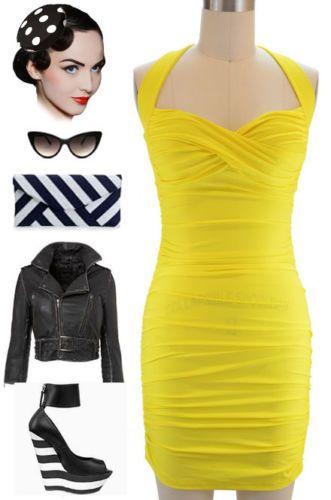 Yellow halter mini dress