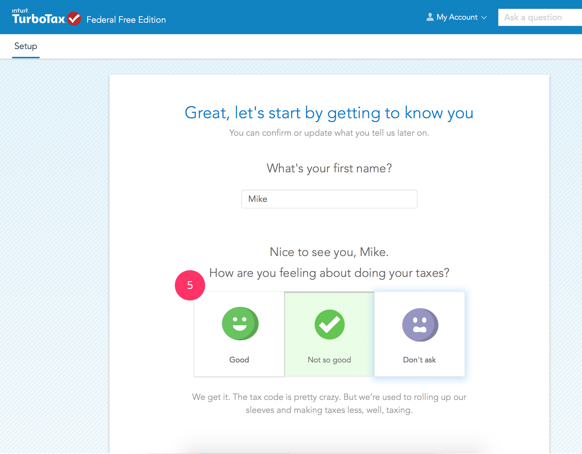 TurboTax makes filing (almost) fun | UX | Questionnaire design, Ui