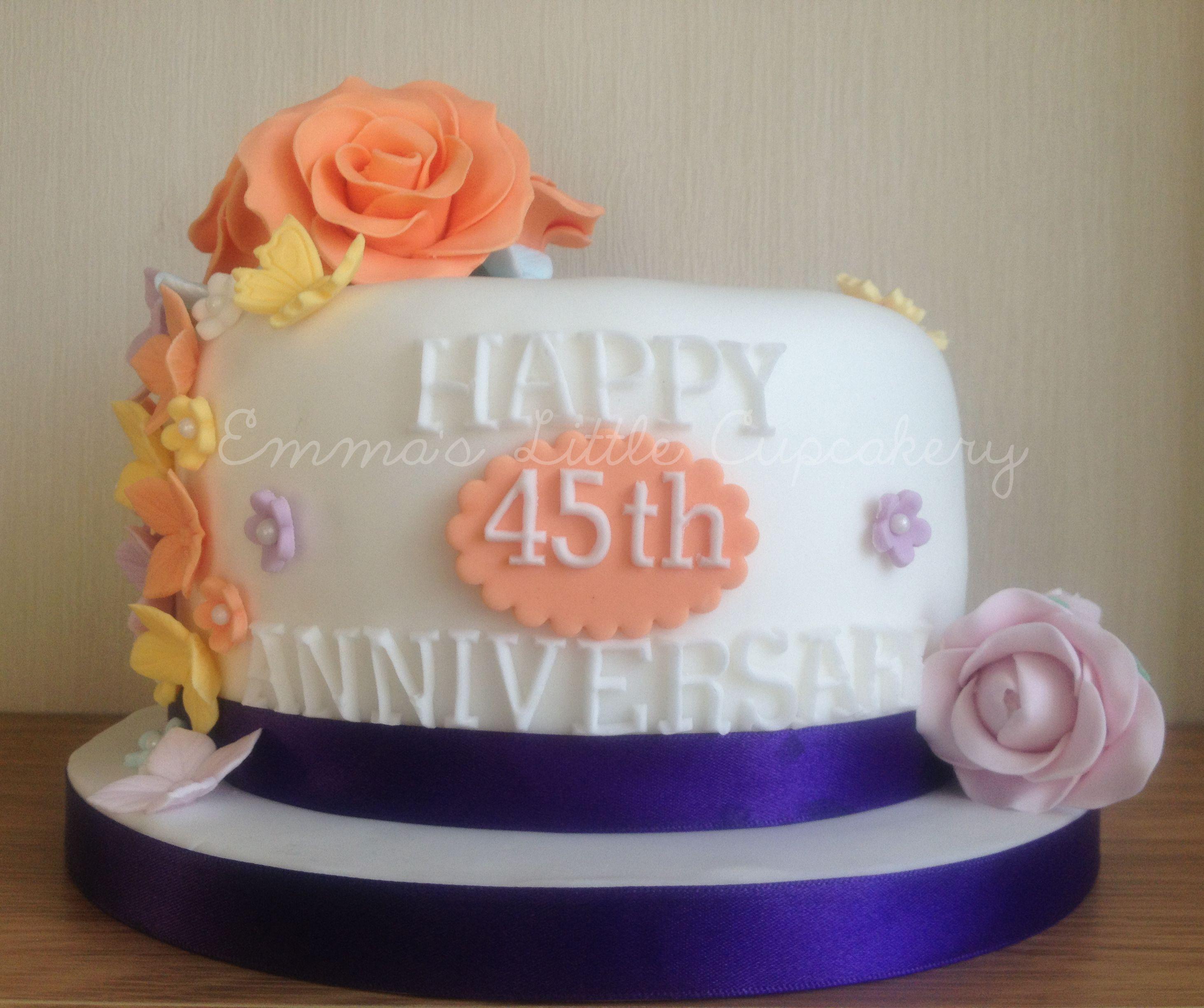 45th Sapphire Wedding Anniversary Cake