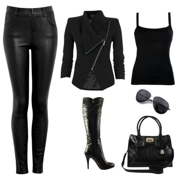 # F/W BLACK LEATHER COMPLETE OUTFIT