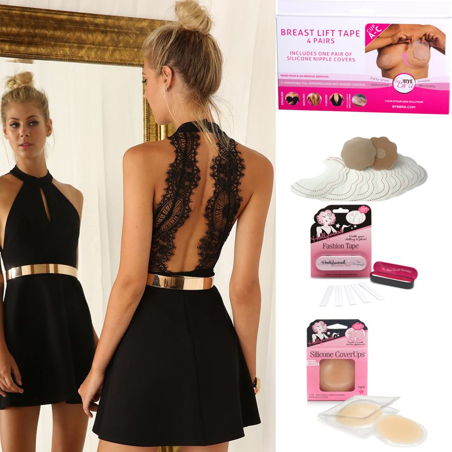 Essential accessories when going without a bra or wearing a backless, strapless or deep plunging neck line. 1) Bye Bra Breast Lift Tape with Concealers 2) Fashion Tape 3) Silicone Cover Ups Check out our full range of bra accessories online here: http://www.secretfashionfixes.ie/bra-accessories-!5-cat.html
