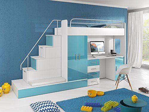 Hochbett TOMI   Schreibtisch, Schrank, Treppe Und Gästebett Mit  Hochglanz Fronten In Weiß