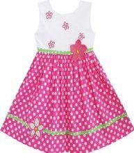 Flor bordada ensolarado Vestido Fashion Girls Pink Dot Vestido de Verão