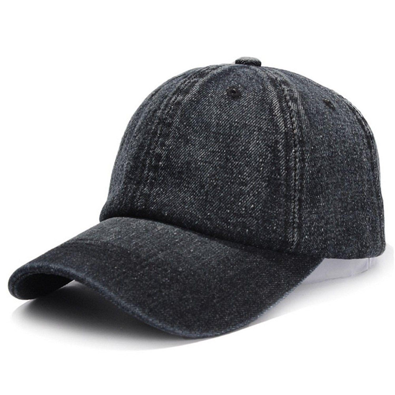 c36a4f5cd06 Unisex Cotton Denim Baseball Cap Adjustbale Plain Sports Dad Hats - Black -  CM185RO2U5C - Hats