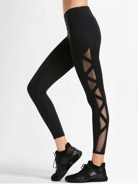 d77dedea08 Up to 51% OFF! Bandage Mesh Workout Leggings. zaful