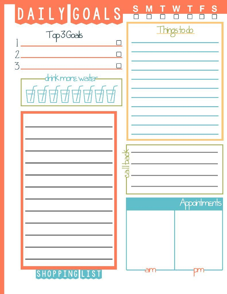 Daily Goals Plan Your Life Printable  Domestic Mommyhood