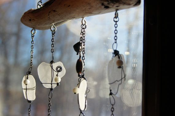 Messy Crow White Beach/Sea Glass Suncatcher by MessyCrow on Etsy