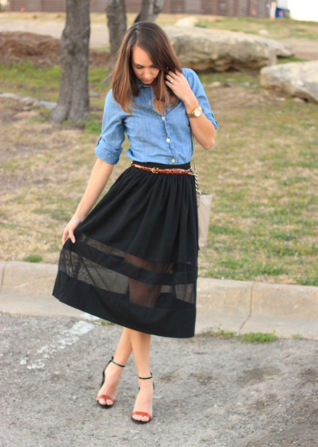 Ribs & Midis // The Fox and She | Black midi skirt, Chambray and ...