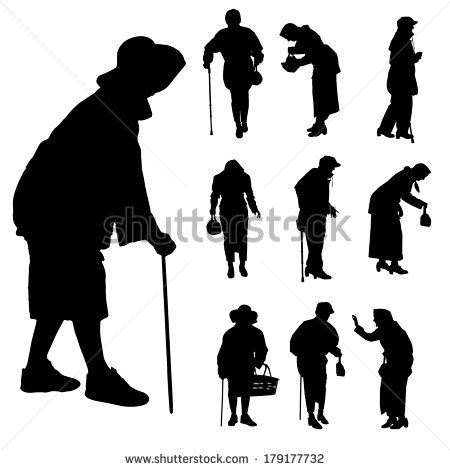 Vector Silhouette Of Old People On A White Background Silhouette People People Illustration Person Silhouette