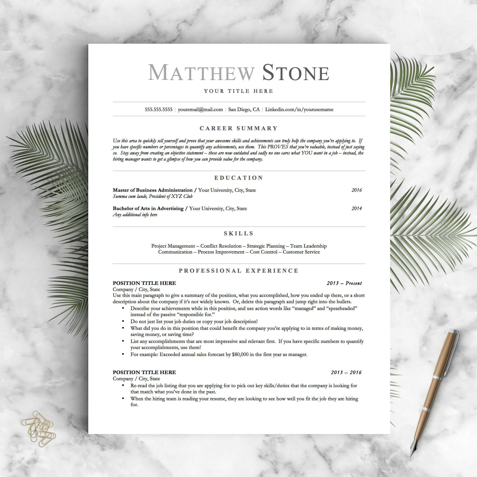 Professional Resume Template for Word Pages and OpenOffice ...