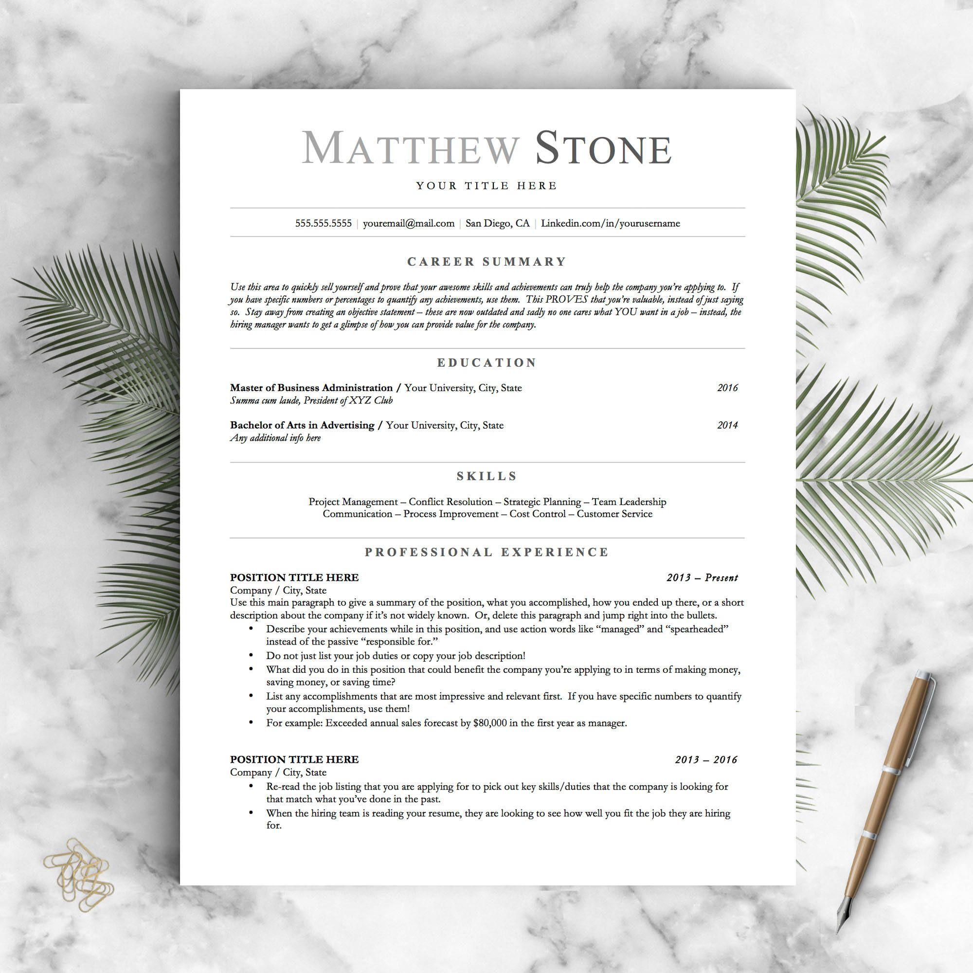 ATS Friendly Resume Template Minimalist Resume Template