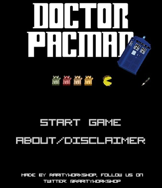 Doctor PAC-MAN - A Doctor Who & PAC-MAN crossover fan-made flash game. Pretty amazing... Noted on Technabob.com, but originally posted at http://maxtervamp.deviantart.com/art/Doctor-Pacman-Flash-game-320393201