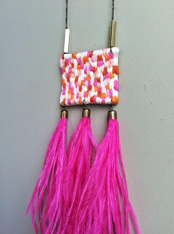 Hand Embroidered Ostrich Feather Tassels Peach Salmon by jujujust