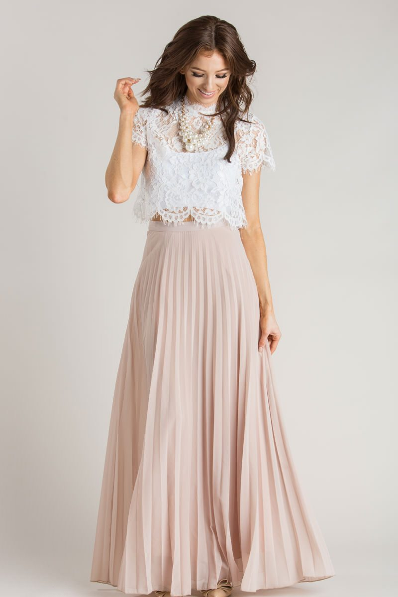 9296db8bc Simone Beige Pleated Maxi Skirt - Morning Lavender | wedding. in ...