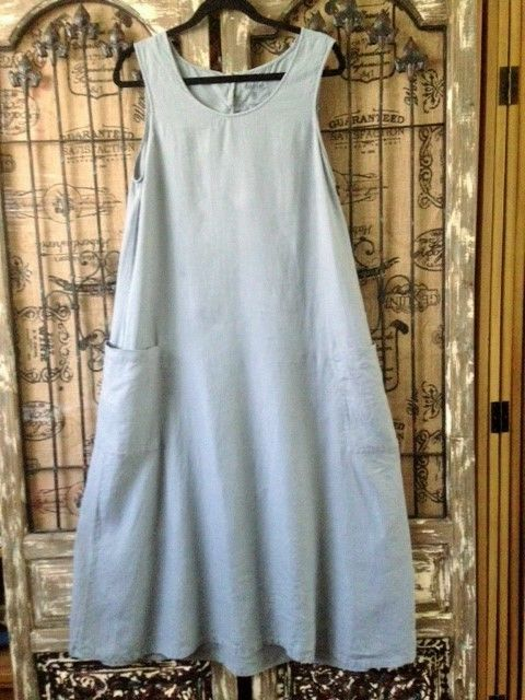 Terre & Mer French 100% Linen Blue Maxi Big Pockets Lagenlook Dress Size T40  #TerreMer #Maxi #Casual