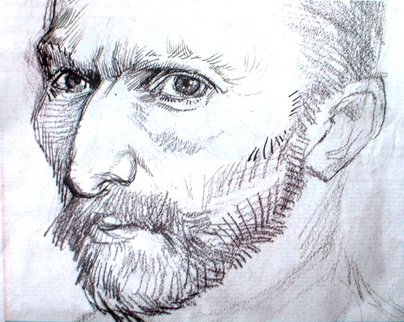 Line Drawing By Vincent Van Gogh : Self portrait vincent van gogh sketches pinterest