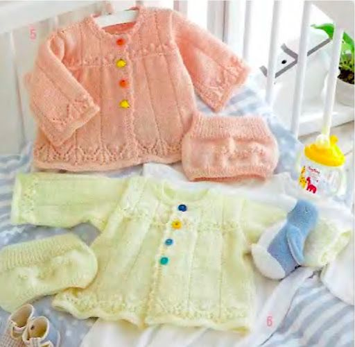 Baby Cardigan Sweater And Bonnet Set Free Knit Pattern Rg P