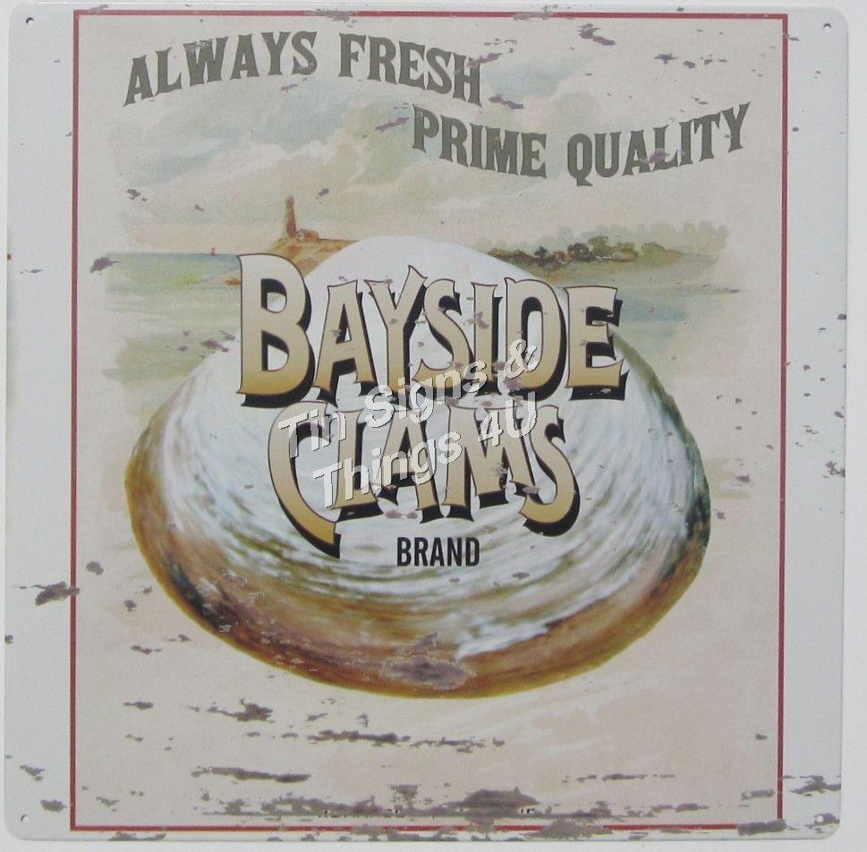Bayside clams tin sign vtg seafood ad nautical metal