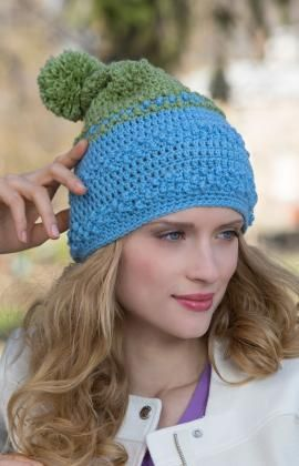 Two-Tone Bobble Hat Free Crochet Pattern from Red Heart Yarns ... bb329cfaec4