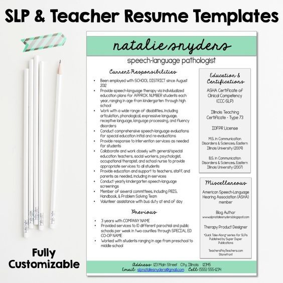SLP & Teacher Resume And Cover Letter Templates