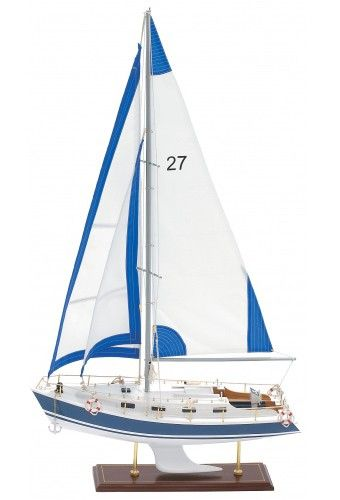 Small Blue And White Model Sailboat | Boat and Ship Models