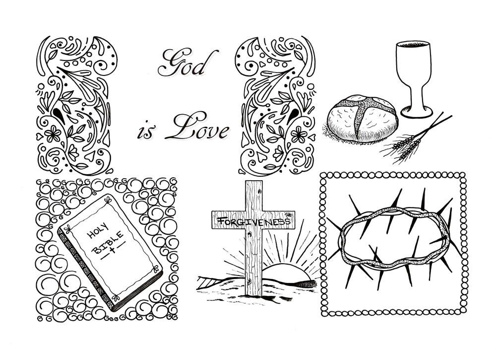 god is love adult coloring page  bible coloring pages