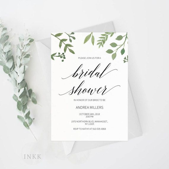 Modern Greenery Bridal Shower Invitation Template, Bridal