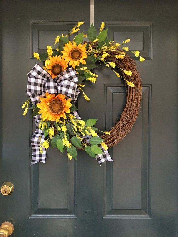 Photo of Sunflower wreath, everyday wreath, peasant wreath, holistic wreath, summer wreath, autumn wreath,