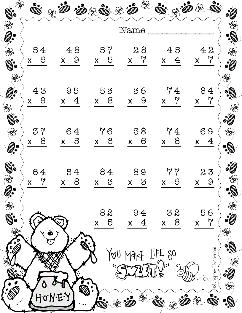 Lots Of 2 Digit Multiplication Practice With A Spring Theme Multiplication 2nd Grade Math Worksheets Two Digit Multiplication [ 1056 x 816 Pixel ]