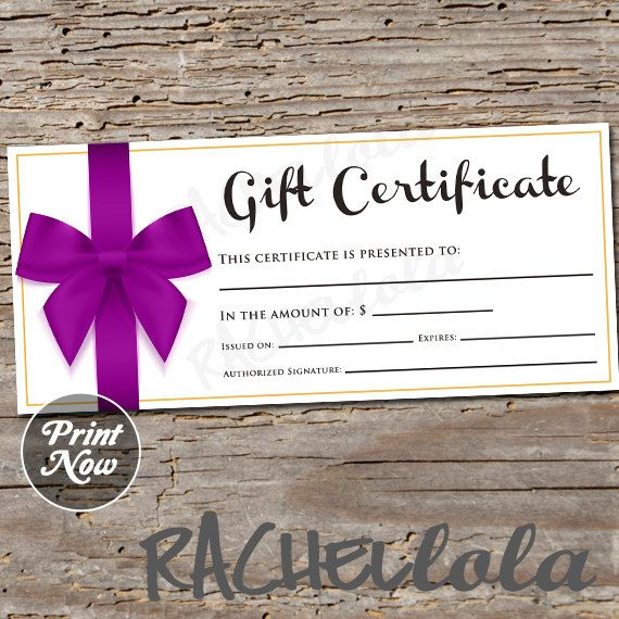 Purple Bow Gift Certificate Printable Instant Download Gift