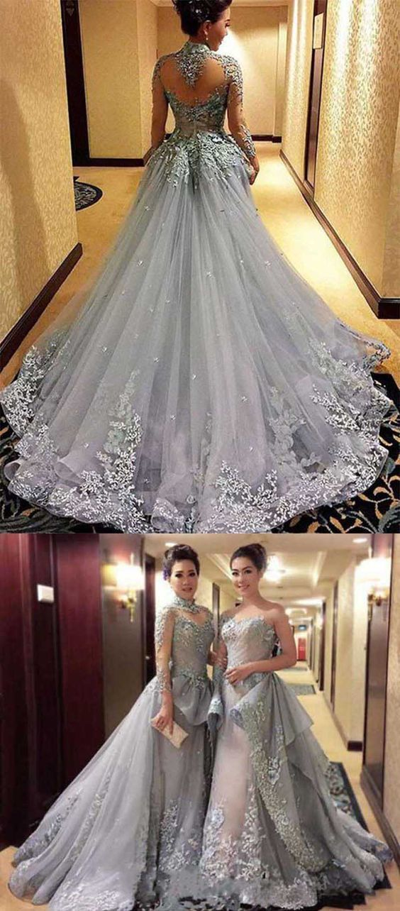 Princess Prom Dresses, Long Sleeves Prom Dress, Tulle Evening Dress ...