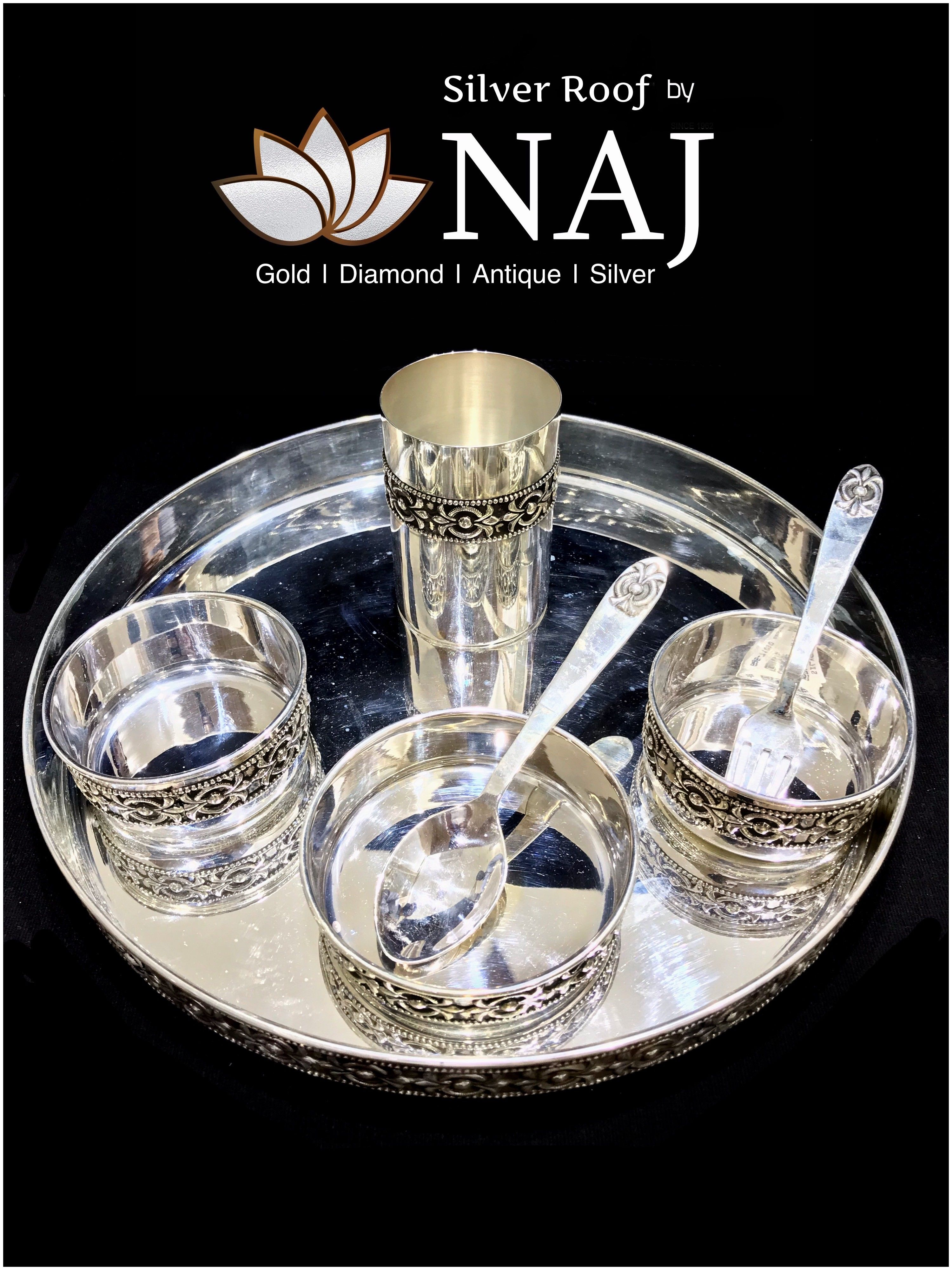 Pure Silver Dinner Set For Wedding Gifts Or Regular Use Antique Silver Dinner Set Available In All Sizes Only Silver In 2020 Silver Antique Silver Silver Trays
