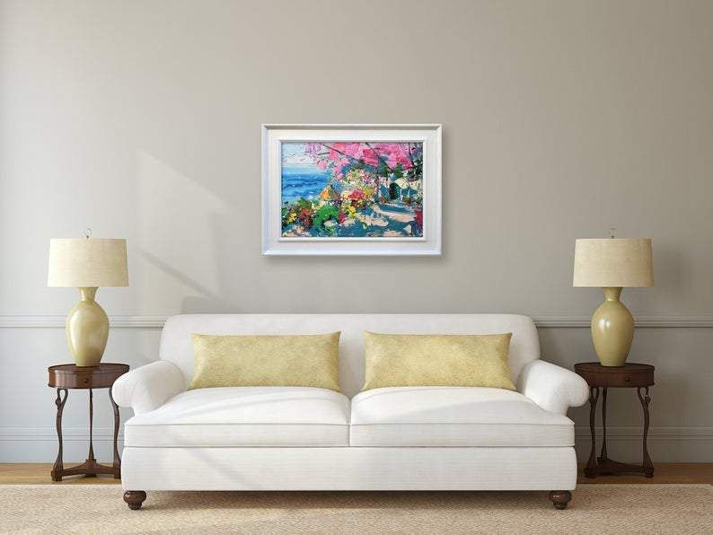 Photo of Positano Painting on Canvas with Bougainvillea, Original Art, Flowers Painting, Seascape Painting, Impressionist Art, Bedroom Wall Art, Gift