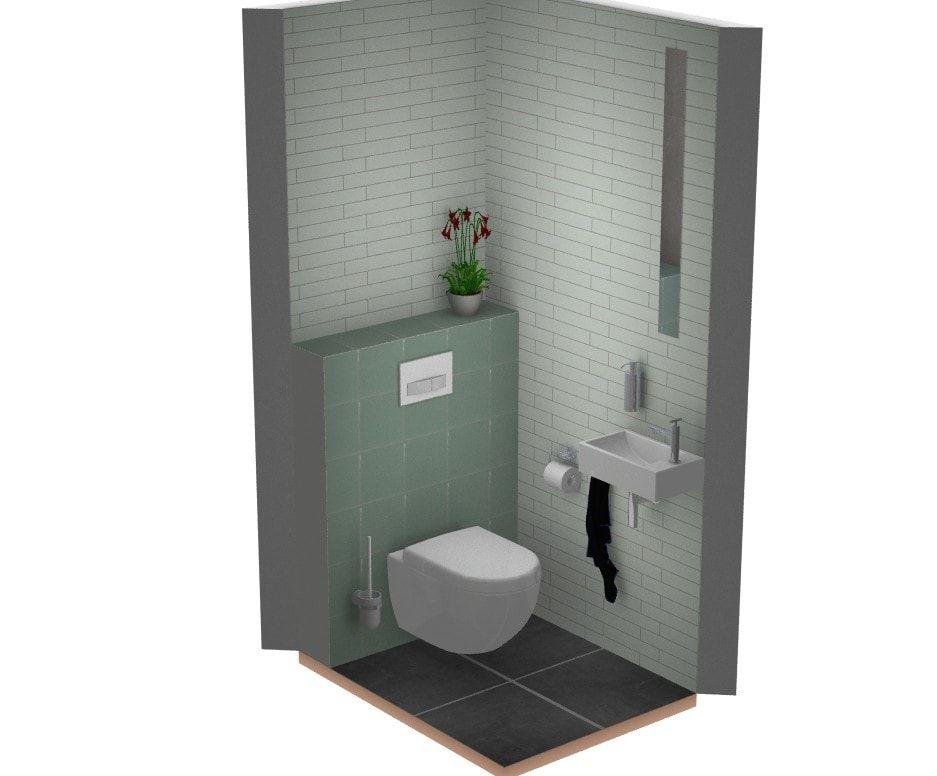 Gekleurde tegels in bijzondere toilet landelijke stijl badkamer