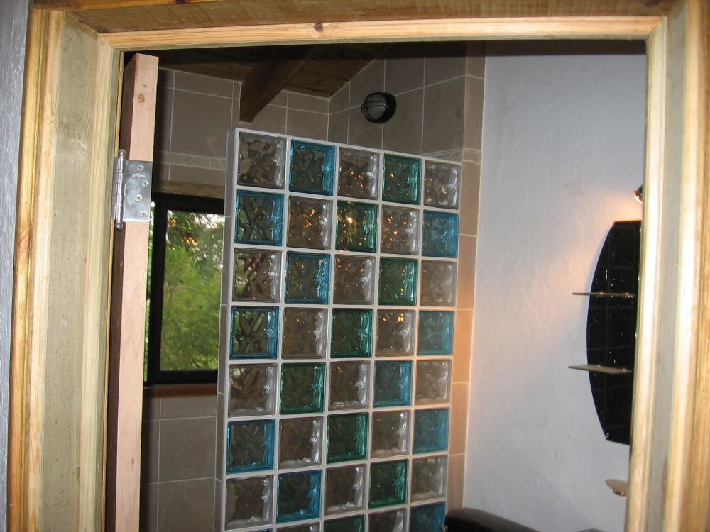 half wall glass block shower google search
