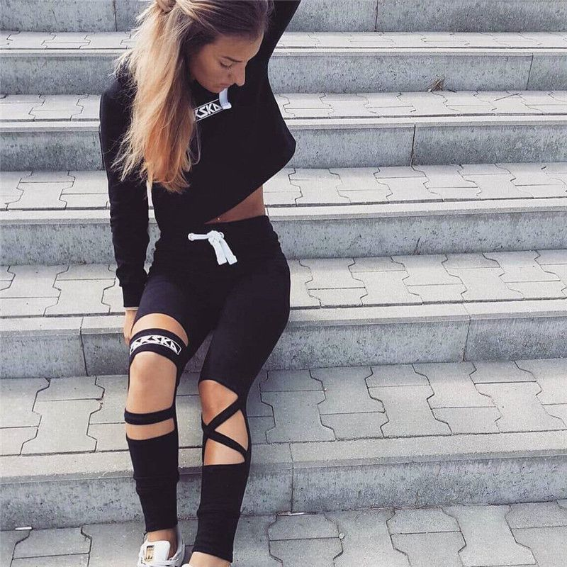 329c8fc7c Weekeep 2017 Sexy Style 2 Piece Set Women Black Pants and Crop Top Suit  Fashion Hollow Out Letter Print Sportswear Tracksuit