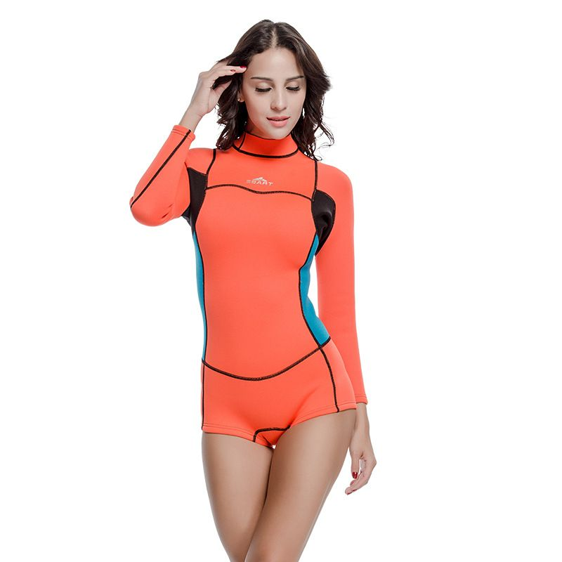 S-XXL Women One Piece Surfing Swimsuit Short Sleeve Swimwear Diving Suit Wetsuit