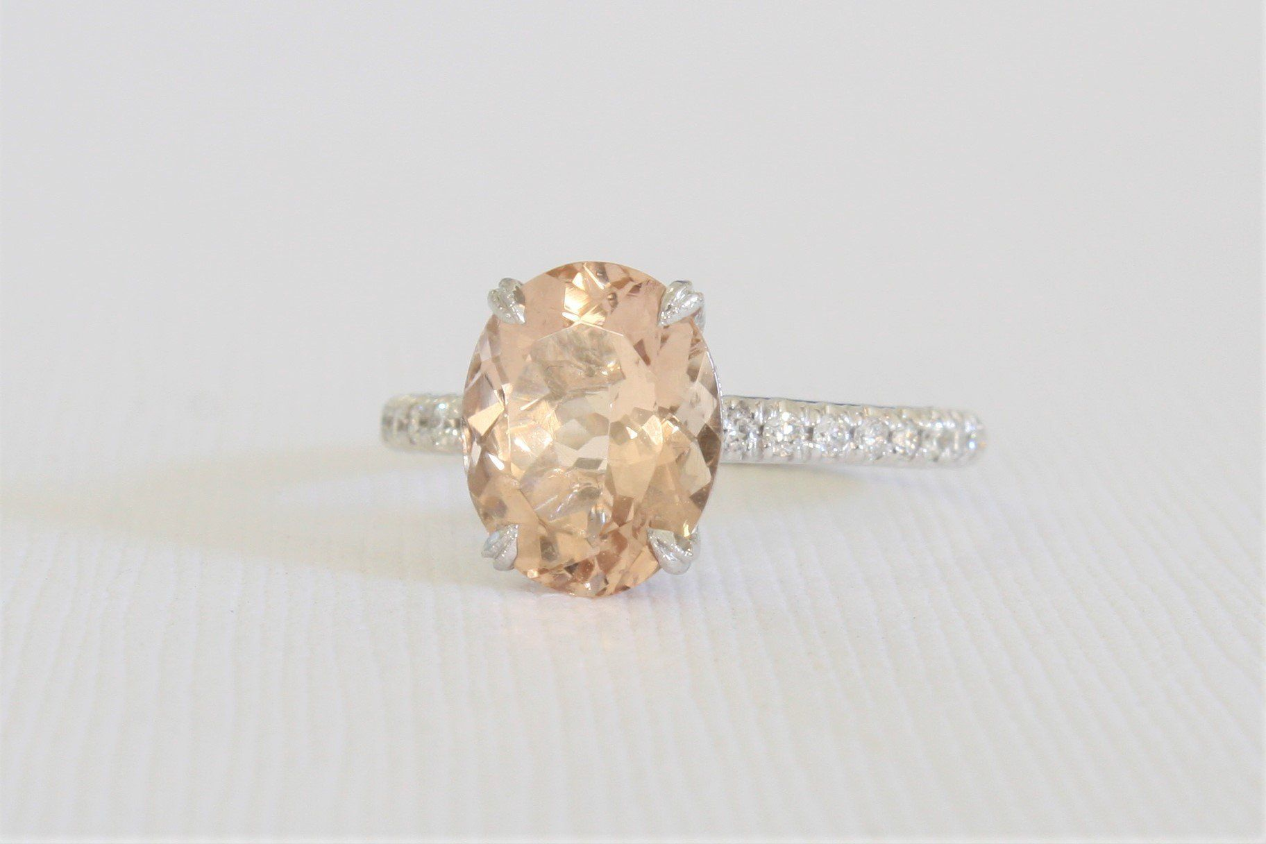2.39 Cts. Morganite Solitaire Diamond Engagement Ring in 14K White Gold