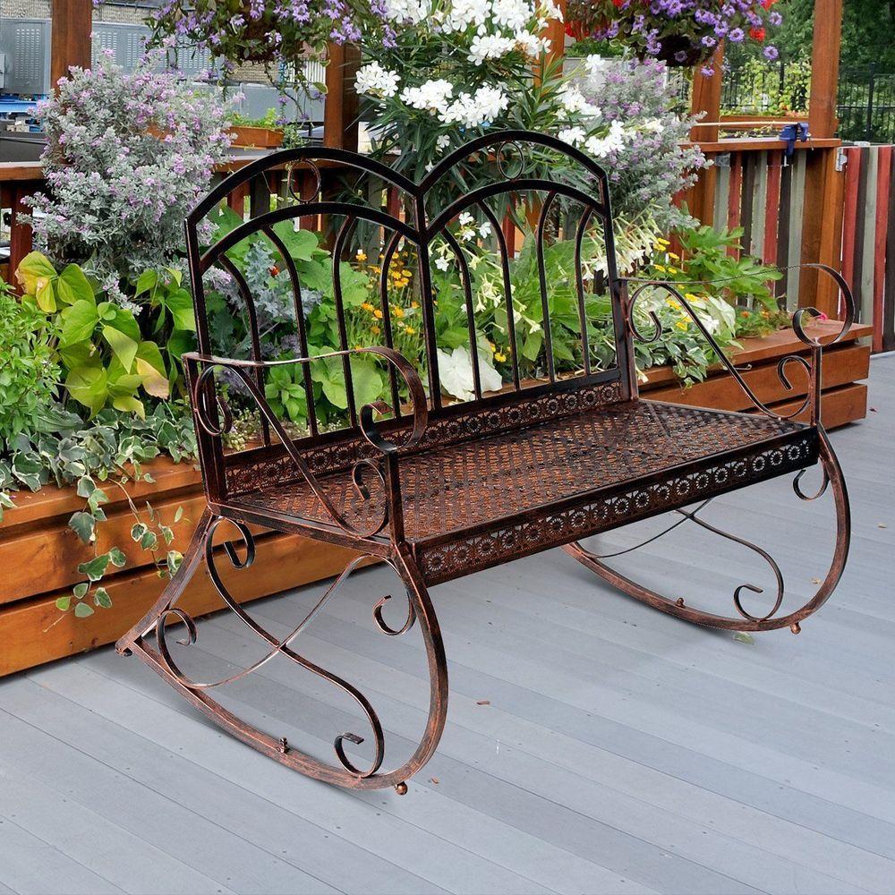 2 Seater Swing Garden Bench Copper Metal Frame Outdoor